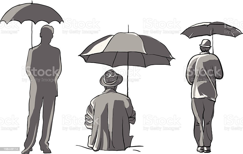 people with umbrellas vector art illustration