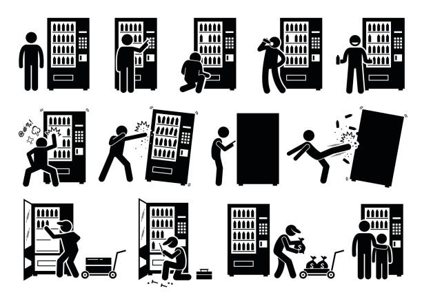 People with Vending Machine. Pictogram depicts a person using vending machine and destroying it. The stick figures also shows a worker stocking up, fixing, and collecting the money from it. vandalism stock illustrations