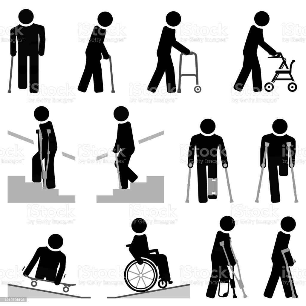 people with walking difficulties use different types of mobility aids stock illustration download image now istock people with walking difficulties use different types of mobility aids stock illustration download image now istock