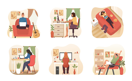 People work and study at home. Freelancer character working on laptop or computer at home with comfortable workplace