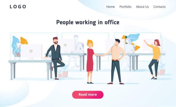 menschen in einem büro und arbeiten mit geräten interagieren. business, workflow management und office-situationen. landing-page - arbeitsvermittlung stock-grafiken, -clipart, -cartoons und -symbole