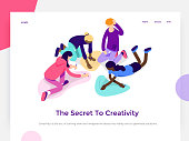 People work in a team and achieve a goal. Creative process and brainstorming. Landing page template. 3d vector isometric illustration.