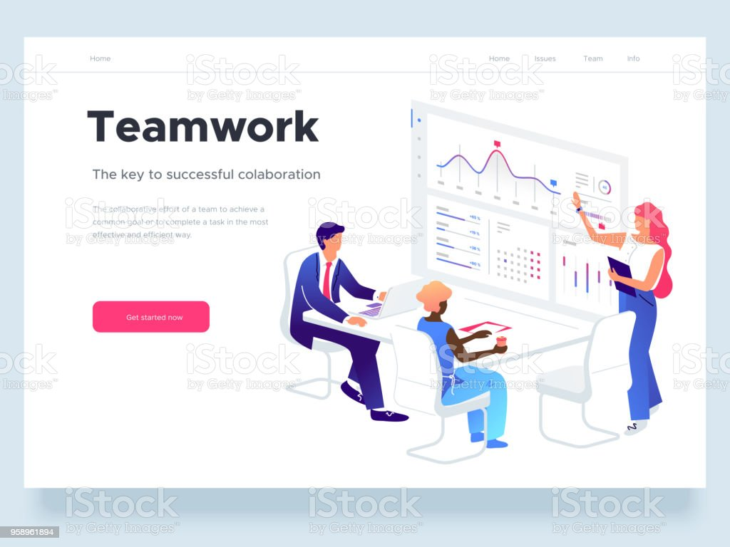 People work in a team and interact with graphs. Business, workflow management and office situations. Landing page template. 3d vector isometric illustration. vector art illustration