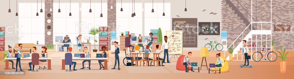 People Work in Office. Coworking Workspace. Vector royalty-free people work in office coworking workspace vector stock illustration - download image now