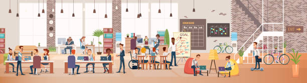 People Work in Office. Coworking Workspace. Vector Coworking Workspace. Office Fun. People Work in Office. Happy Workers in Workplace. Men and Women Work. Corporate Culture in Company. Cheerful Working Day. Vector Flat Illustration. coworking stock illustrations