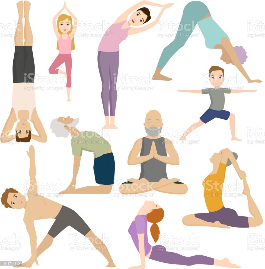 Personas trabajan en fitness club yoga clases vector carácter ilustración  de personas trabajan en fitness club 593ef8f31c83