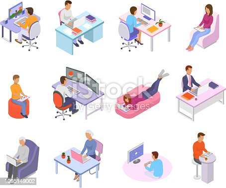 People work place vector business worker character person working on laptop computer at the table in office illustration isometric set of man woman coworkers workplace isolated on white background.
