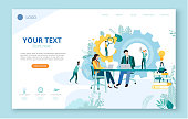 People work, study, analyze and increase efficiency and income. Landing page or web site template. Teamwork, marketing, business. Vector illustration, flat style.