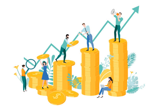 People work together in team to earn money and increase income and efficiency. People work together in team to earn money and increase income and efficiency. Vector illustration with gold dollar coins and arrow, flat style. earn money stock illustrations