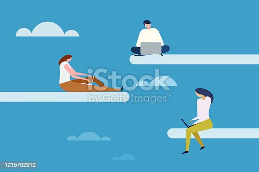 istock People work with laptop in open sky. Concept for cloud computing 1215702912