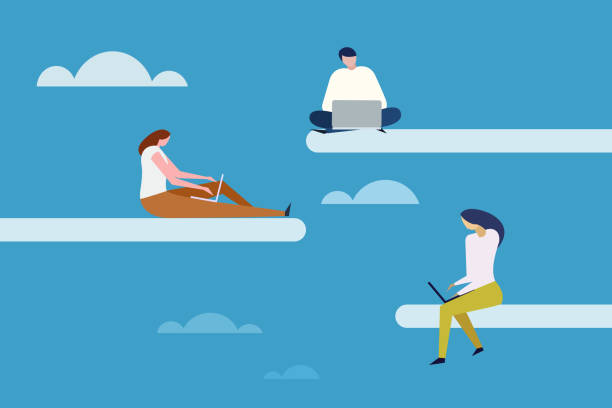 ilustrações de stock, clip art, desenhos animados e ícones de people work with laptop in open sky. concept for cloud computing - teletrabalho