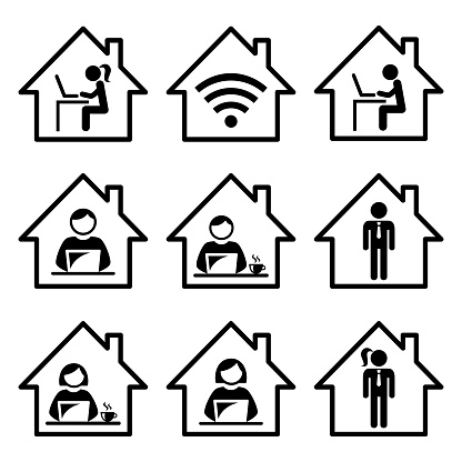 People working from home vector icon set, freelance man and woman working on their laptop, computer, home office design