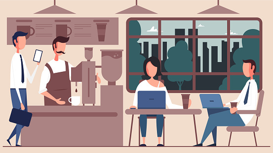 People working in cafe