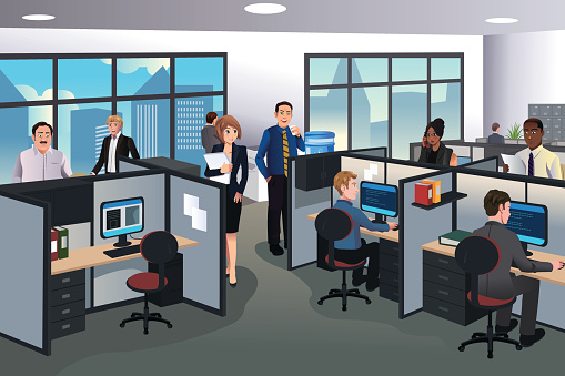 Office cubicle stock illustrations