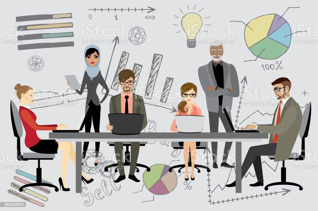 People working on computer flat style cartoon, royalty-free people working on computer flat style cartoon stock vector art & more images of adult