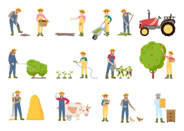 illustrazioni stock, clip art, cartoni animati e icone di tendenza di people working on farm, in garden, vector banner - farmer