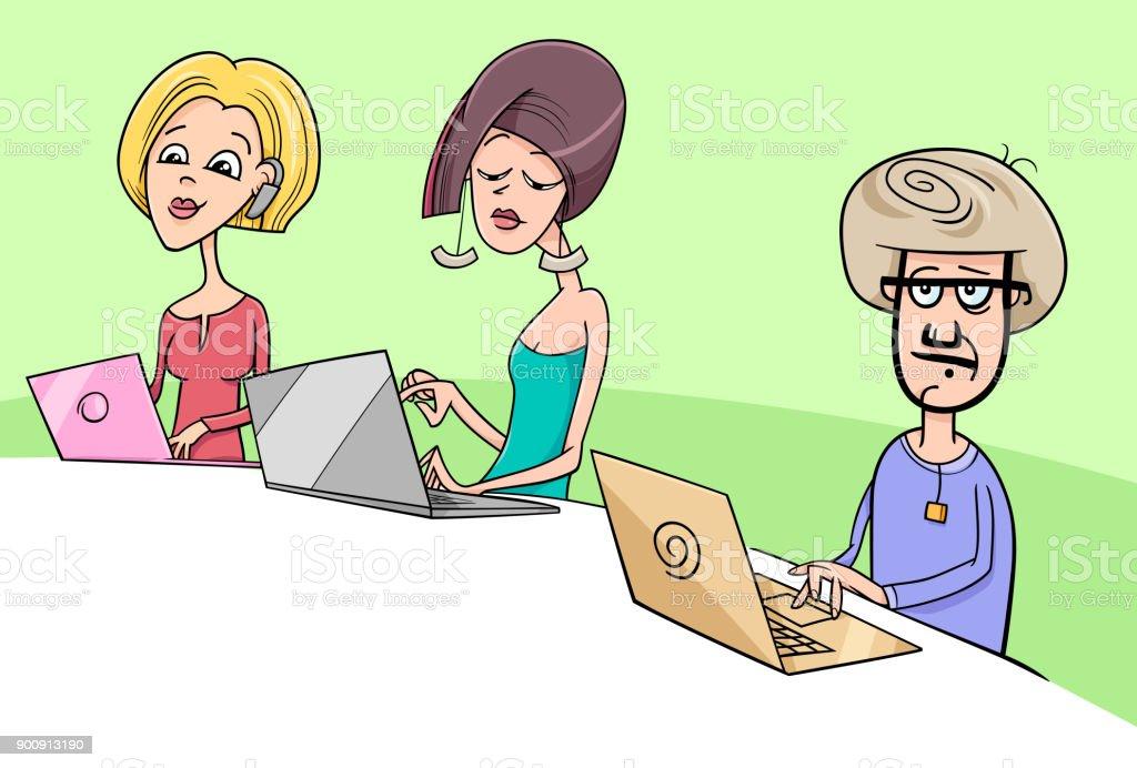 people working on notebooks cartoon illustration vector art illustration