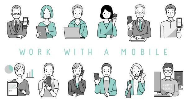 スマートフォンやモバイルで作業する人 - オペレーター 日本人点のイラスト素材/クリップアート素材/マンガ素材/アイコン素材
