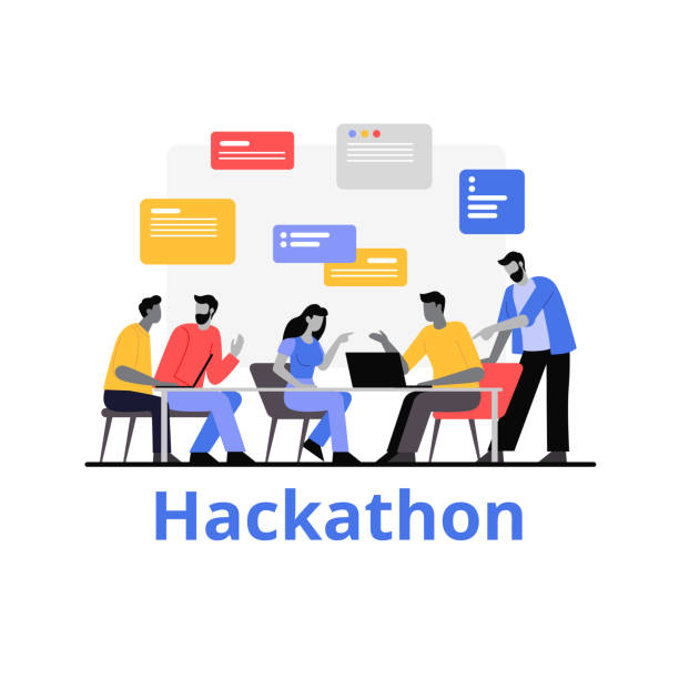 People working together hackathon vector flat illustration. Programmers work with data