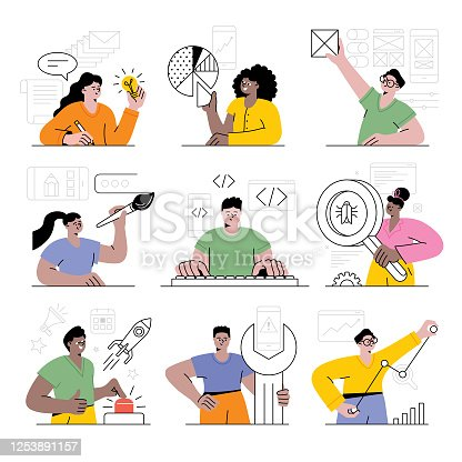 Various people working on application development process.  Editable vectors on layers.