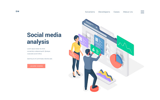 People working with social media content isometric vector illustration