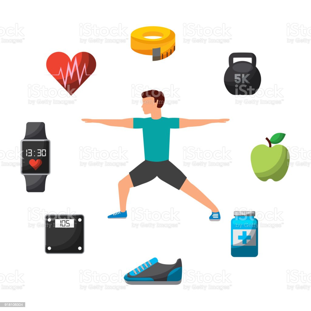 People workout with sports equipments, exercises with dumbbells healthy lifestyle and proper nutrition vector art illustration