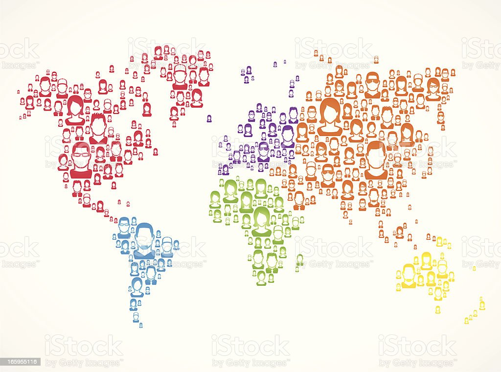 People world Map royalty-free stock vector art