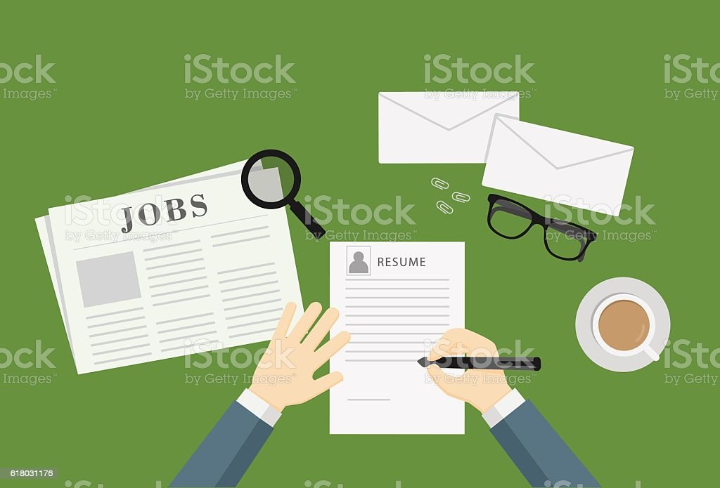 People Writing A Resume To Apply Job Vacancy vector art illustration
