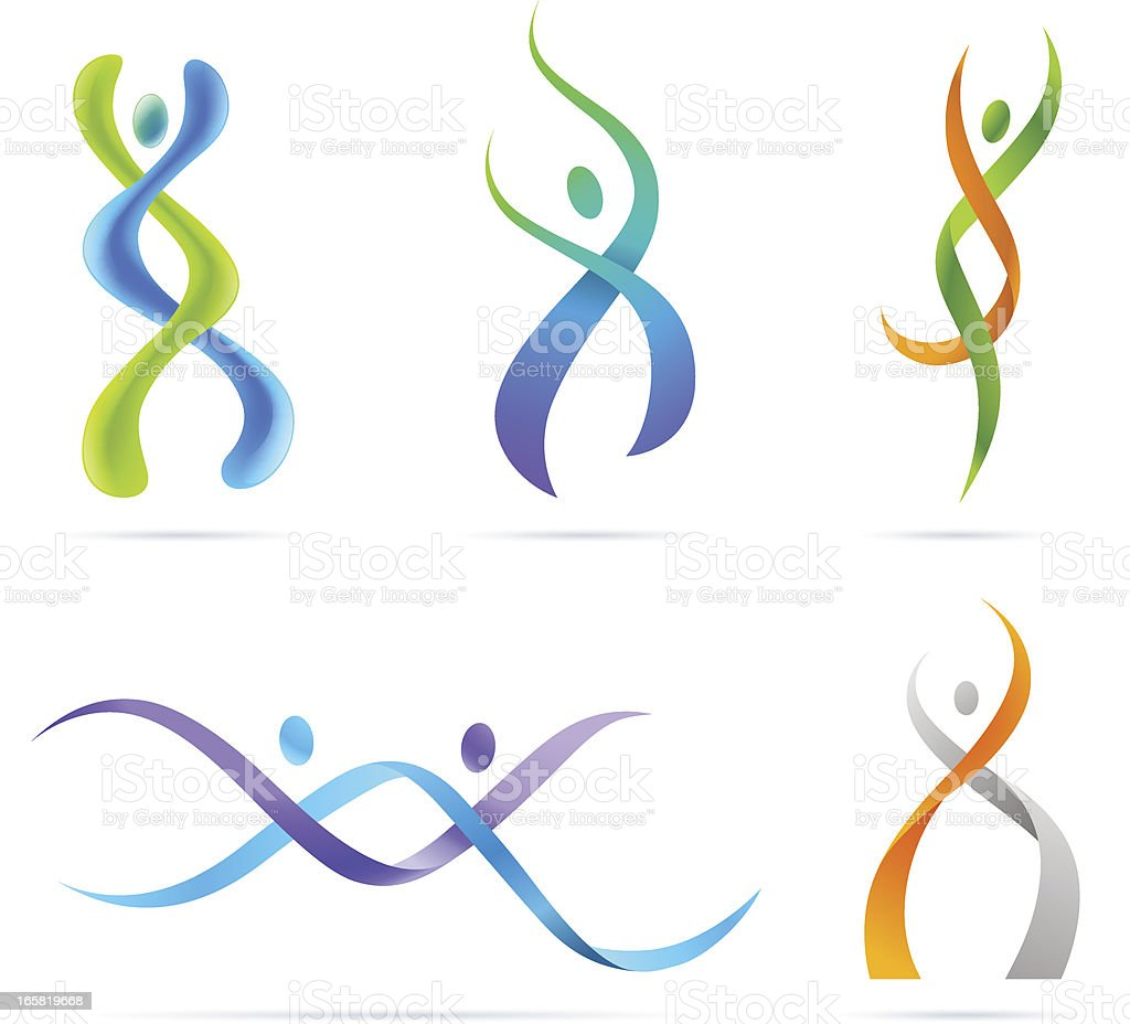 People_DNA Illustration of stylized people like DNA. Abstract stock vector