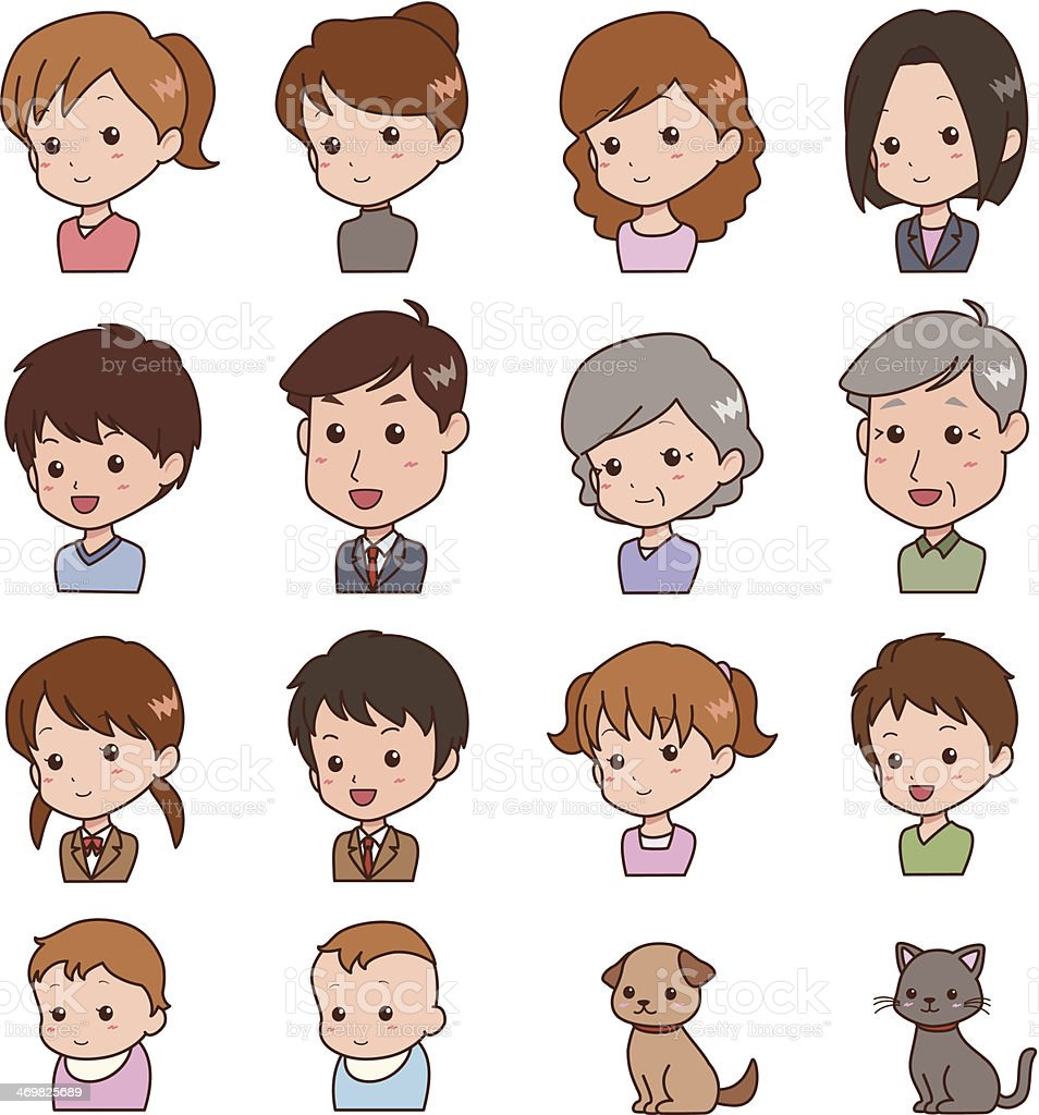 people_face vector art illustration