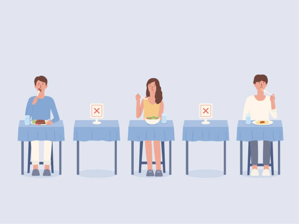Peoples eating food alone at tables in the restaurant. Arrangement blank space to prevent and stop Coronavirus spread by doing social distancing. Physical distancing and new normal. vector art illustration