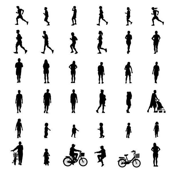 peoples exercise isolated on white background as healthy concept. vector illustration. - ходьба stock illustrations