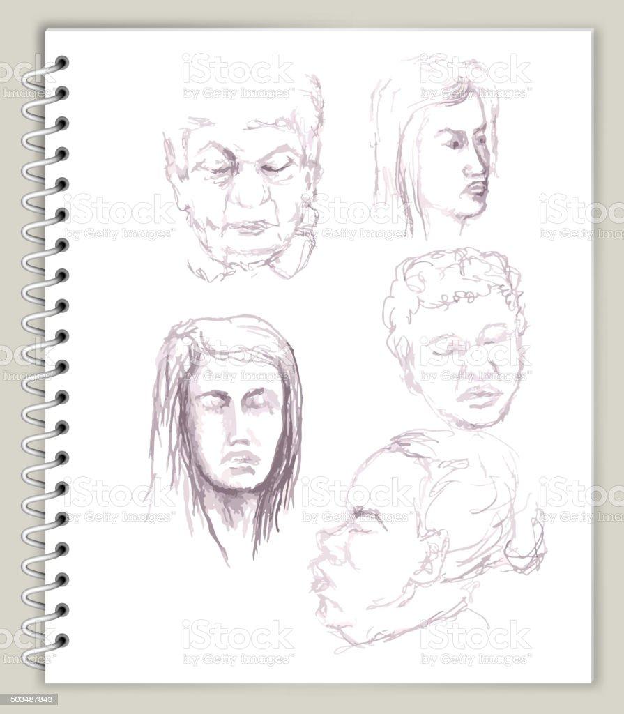 Menschen Gesichter Zeichnung Auf Kunst Sketcbook Lizenzfreie ...