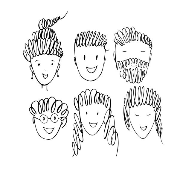 People's faces. Vector   illustration. People's faces.  Vector sketch  illustration. human head stock illustrations