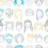 Hand drawn people's faces. Vector  seamless pattern.