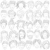 Hand drawn people's faces.Vector background.