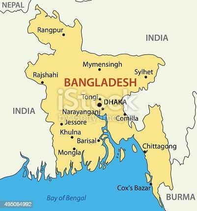 istock People's Republic of Bangladesh - vector map 495064992