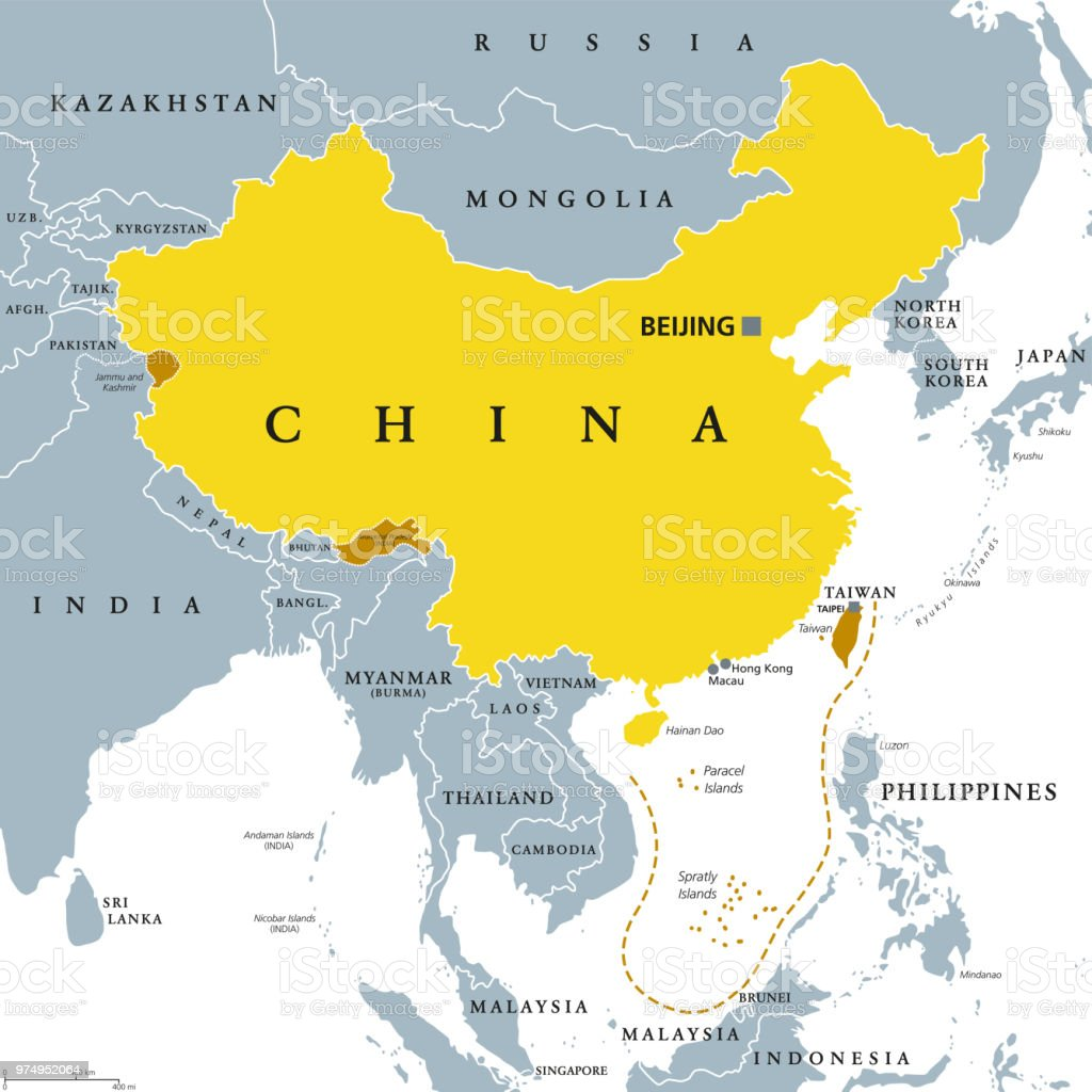 Peoples Republic Of China Prc Gray Political Map Stock Illustration Download Image Now Istock