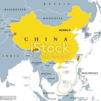 istock Peoples Republic of China, PRC, gray political map 974952064