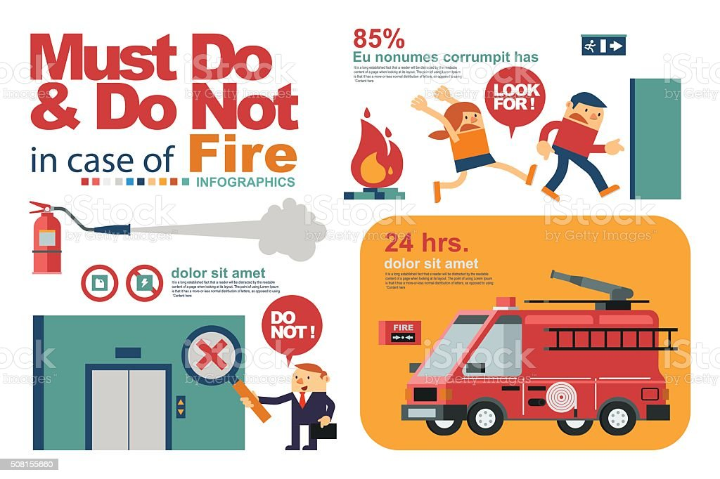 People's Safety in Fire or Emergency in Workplace. vector art illustration