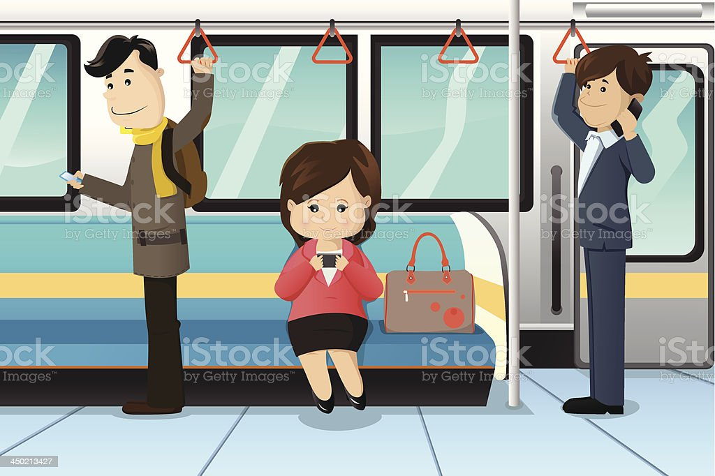 Peoples using cell phones in a train vector art illustration