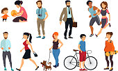 Peoples walking on street. Vector illustrations set. Man and woman walking and run, group of people walk