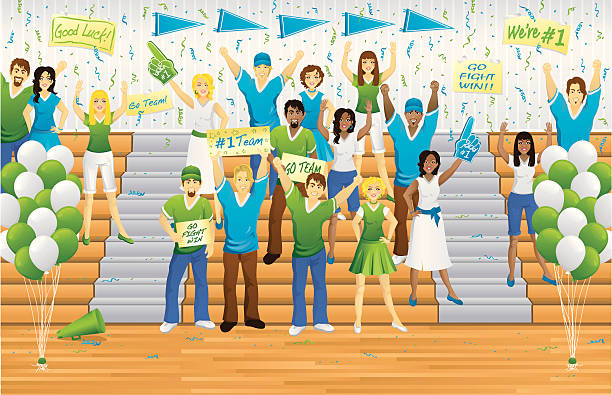 pep rally fans - high school sports stock illustrations
