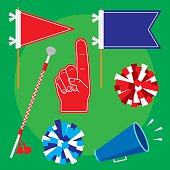 Vector illustration of pep rally items in flat style. Includes: pom poms, flag, pennant, foam hand, bullhorn and marching baton.