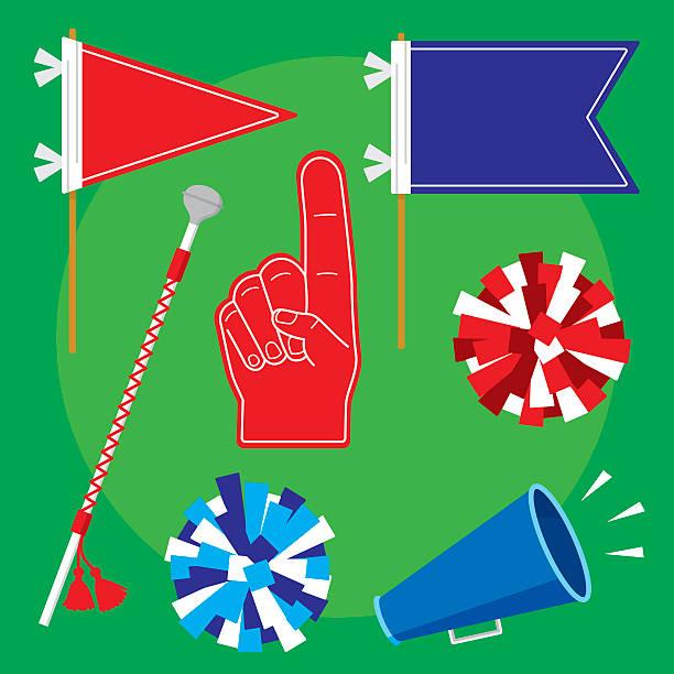 stockillustraties, clipart, cartoons en iconen met pep rally items flat set - cheering