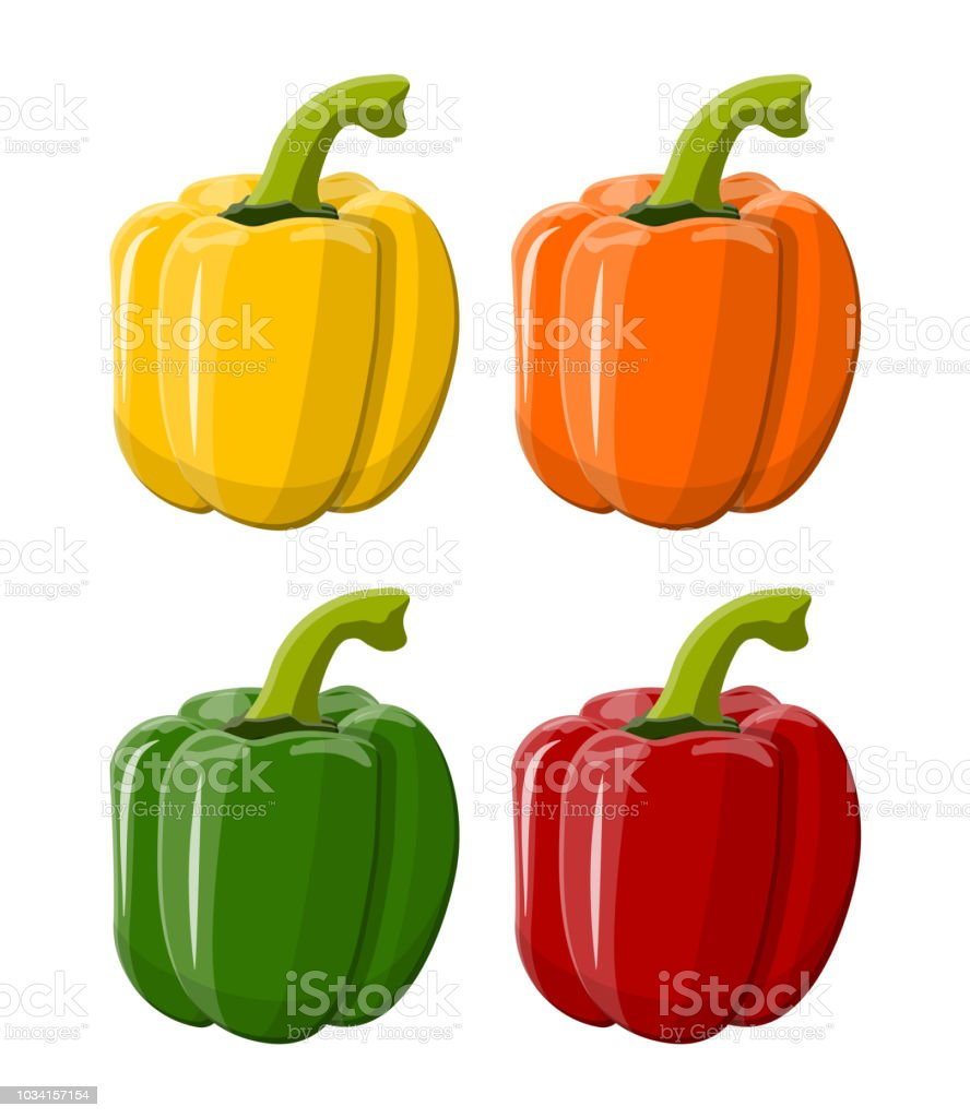 Pepper bell vegetable isolated on white background. Green red yellow...