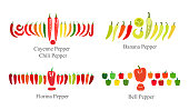 pepper flat icon set  vector illustration