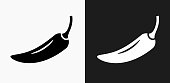 Pepper Icon on Black and White Vector Backgrounds. This vector illustration includes two variations of the icon one in black on a light background on the left and another version in white on a dark background positioned on the right. The vector icon is simple yet elegant and can be used in a variety of ways including website or mobile application icon. This royalty free image is 100% vector based and all design elements can be scaled to any size.