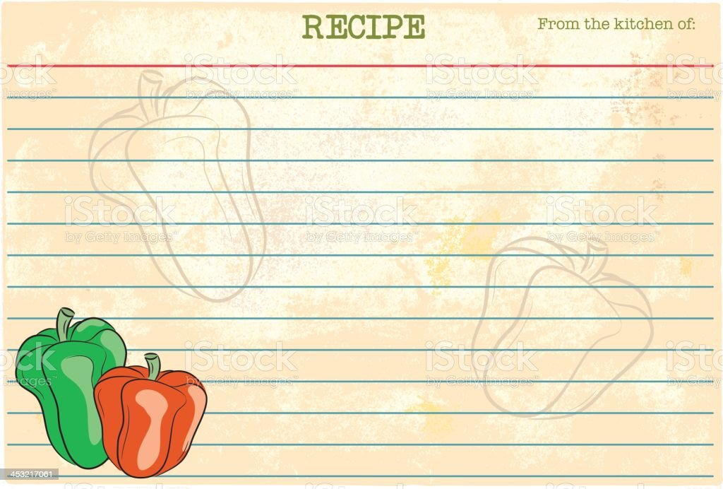Pepper Recipe Card royalty-free pepper recipe card stock vector art & more images of blank