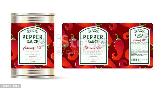 istock Pepper Sauce Extreme Hot label and packaging. Can with label. 1304563830